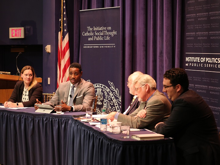 Panelists from left to right: Elizabeth Podrebarac Sciupac, Justin Giboney, moderator John Carr, Cecil Roberts and Michael Wear