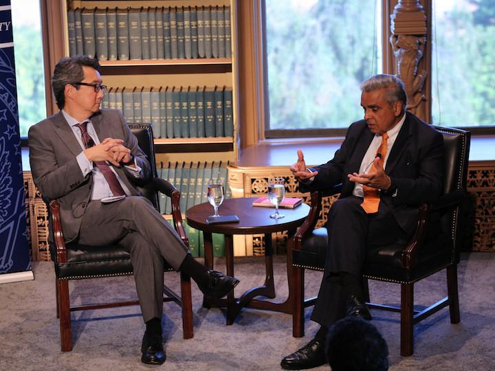 Dr. Victor Cha moderating discussion with Kishore Mahbubani.