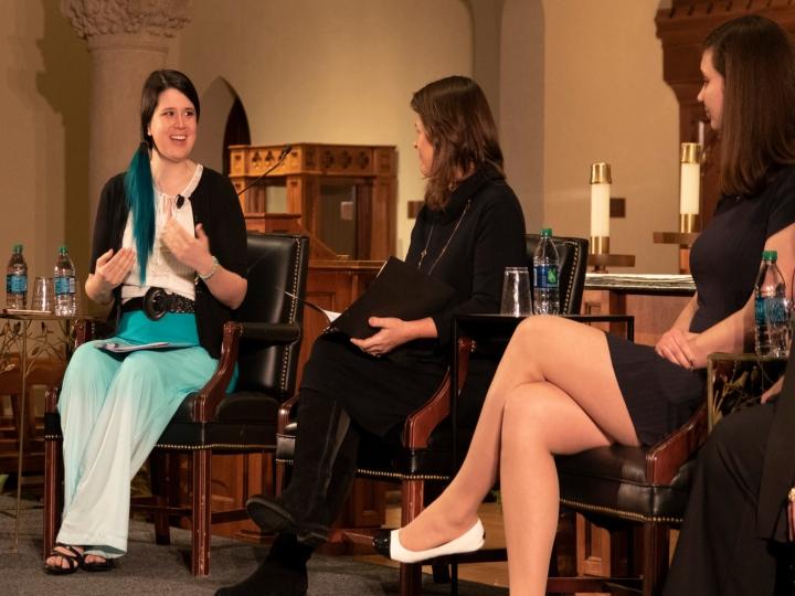 Panelist Aimee Murphy of Rehumanize International speaks in Dahlgren Chapel