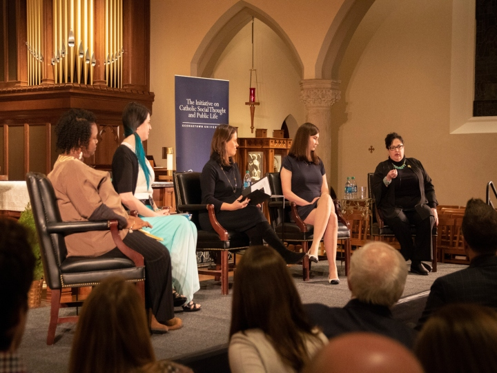 Serrin Foster shares insights at panel in Dahlgren Chapel