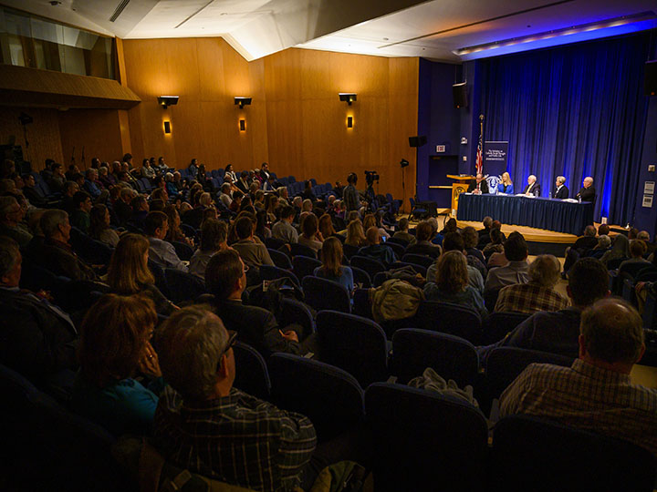 The dialogue drew a full house to the Intercultural Center Auditorium with those interested in religious perspectives on the crisis at the border.