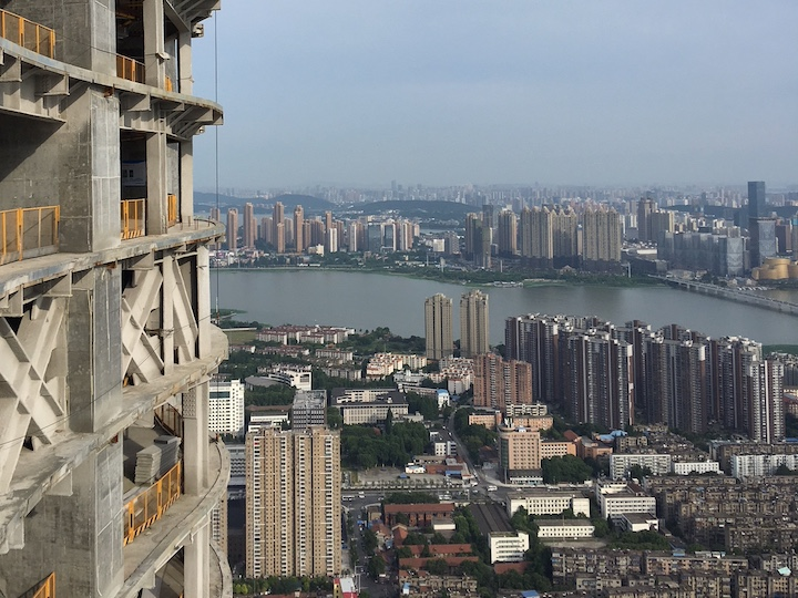 View of Wuhan, China, from a building under construction
