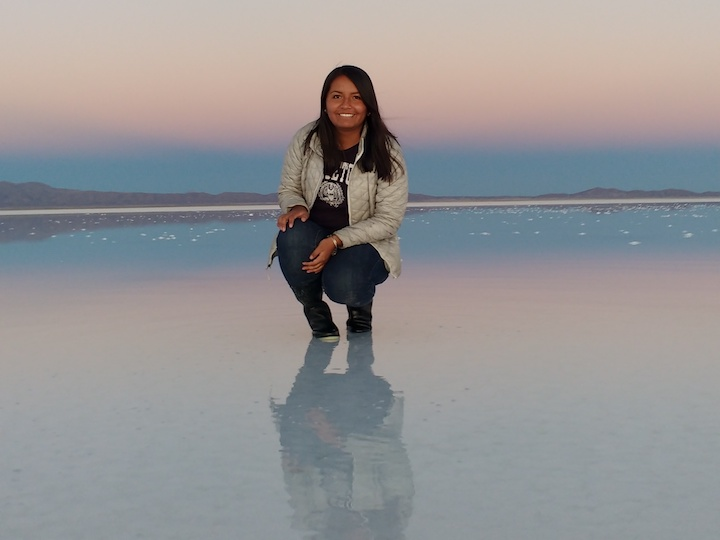 Claudia Soliz Castro at the Salar de Uyuni in Bolivia.