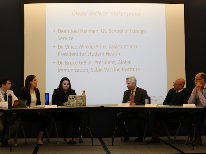 Students present to an expert panel of global health practitioners.