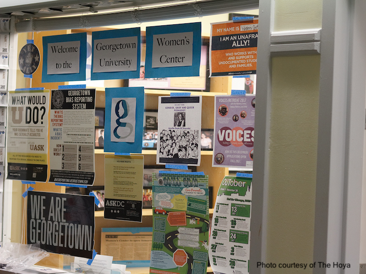 Photo of flyers at the Georgetown University Women's Center