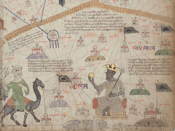 Detail from the Catalan Atlas showing the Western Sahara, with mountains at the top and the River Niger at the bottom.