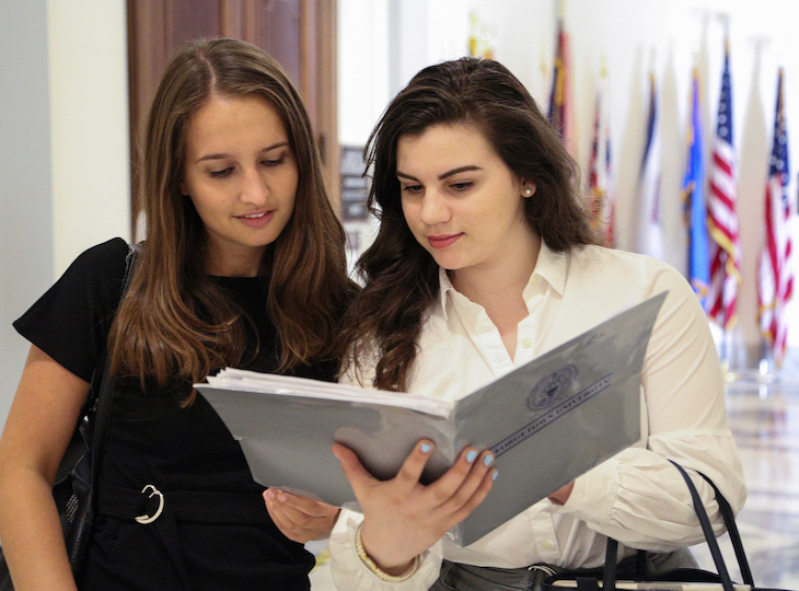Grace Shevchenko (SFS'22) with a classmate in the halls of the U.S. Capitol.