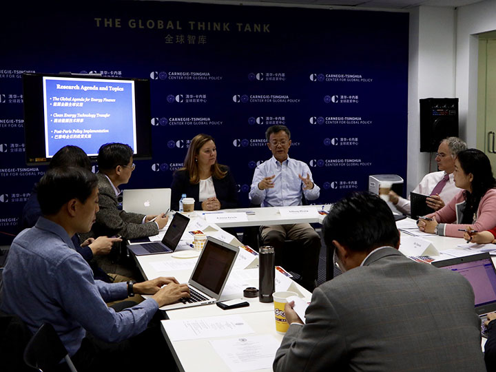 Lewis leading a U.S.-China Research Group on Climate Change meeting in Beijing in 2016