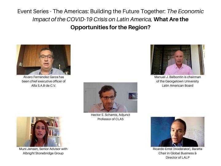 Panelists  Alvaro Fernandez, Hector Schamis, Manuel Balbontin, Muni Jensen, and Ricardo Ernst on Zoom