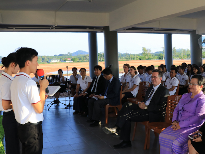 XLC students speak to the congregation during Mass