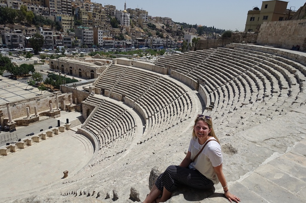 Caila McHugh (SFS'21) sits atop the Citadel in downtown Amman, Jordan.