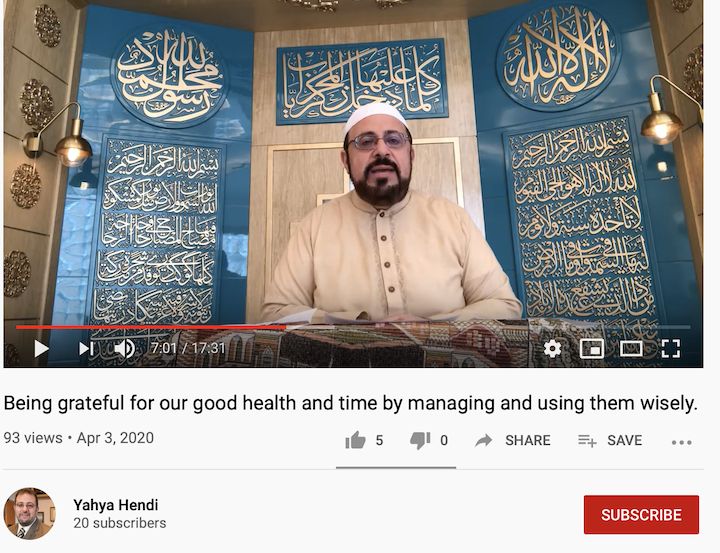 Imam Yahya Hendi, a Muslim chaplain at Georgetown, leads Friday prayer service via YouTube Livestream.