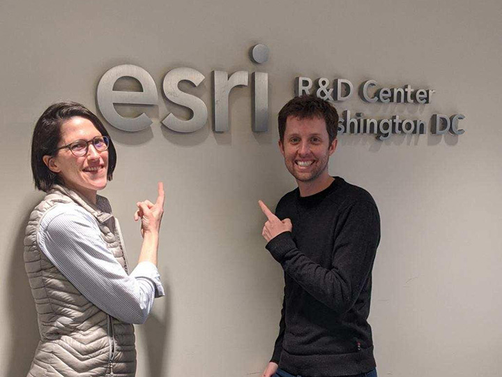 Clare Fieseler meets with cartographer Ross Donihue of ESRI, the company behind the mapping software used in her class