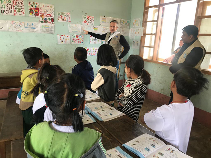 Anderson visits an elementary school classroom in Shan State, Myanmar.
