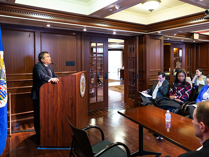 Ambassador Nestor Mendez speaks to the crowd