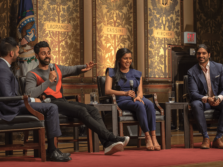 Hasan Minhaj, second from left, spoke in Gaston Hall with South Asian Society president Vishal Menon (B'19) and former SAS presidents Bhavya Jha (SFS'17) and Vinoda Basnayake (B'03)