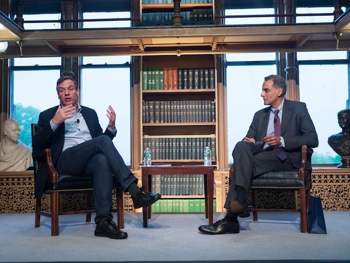 Senator Mark Warner (D-VA) and Ambassador Richard Verma discuss the future of the U.S.-India partnership at the inaugural India Ideas Conference at Georgetown.
