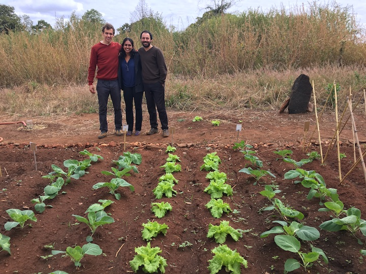 St. Ignatius Loyola High School, Tsangano District, Tete Province, Mozambique 2017 - Tomás, Harshita, and David in the small home garden behind the Jesuit house