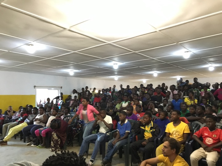 St. Ignatius Loyala High School, Tsangano District, Tete Province, Mozambique 2017 - Students on the first night of a weekly Saturday talent show series