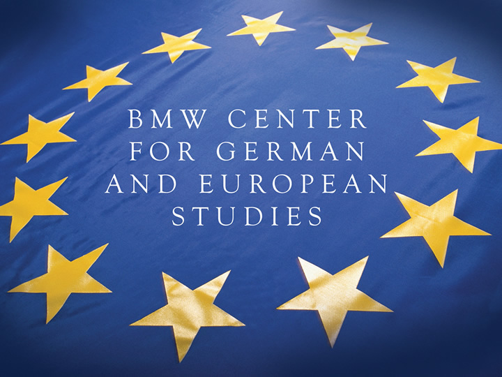 """""""BMW Center for German and European Studies"""" on EU flag-style background"""