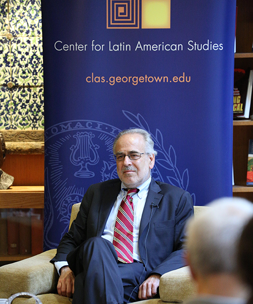 Marc Chernick moderating an event at Georgetown University September 2017