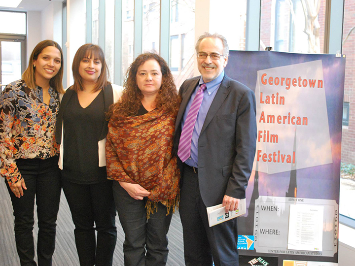 Marc Chernick with student organizers of Georgetown Latin American Film Festival
