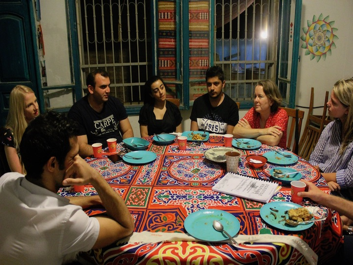 Caila McHugh (SFS'21) leads a dialogue during her internship in Amman, Jordan.