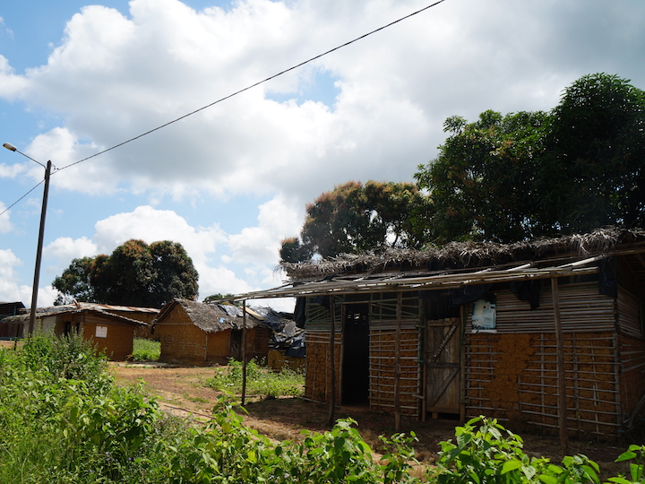 Traditional-style homes in the village of Gnagbodougnoa, Ivory Coast.