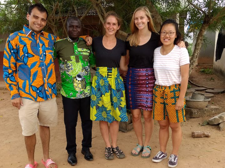 The Guébie documentation team with Leonard, the local tailor, in Gnagbodougnoa, Ivory Coast.