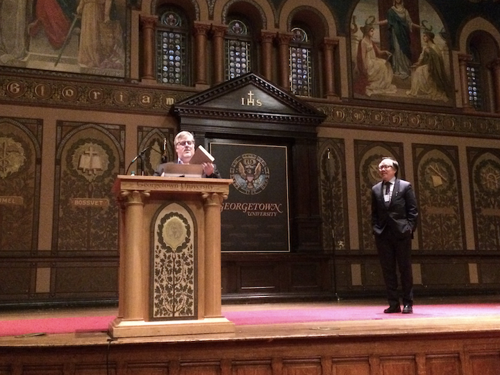 Alexander Beecroft, ACLA Secretary Treasurer, and David Palumbo-Liu, ACLA President, in Gaston Hall, for the award ceremony recognizing outstanding scholarship in comparative literature.