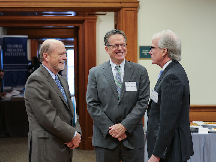 Left to right: Dean William M. Treanor, Vice President for Global Engagement Thomas Banchoff, and O'Neill Institute Co-founder Timothy J. O'Neill