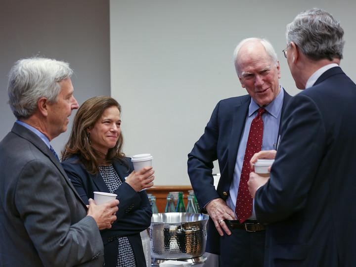 Left to right: Bruce Gellin, Rebecca Katz, Dean Edward B. Healton, and John Monahan