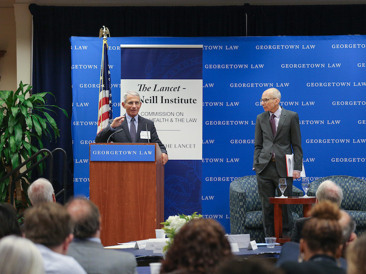 Anthony Fauci and O'Neill Institute Faculty Director Lawrence Gostin discuss ending the HIV/AIDS pandemic