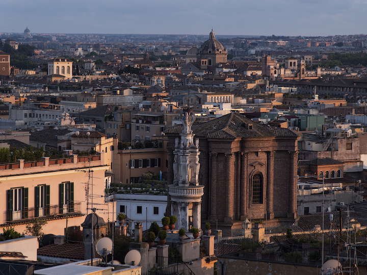 View of the city from the roof of the Villa Malta in Rome, Italy