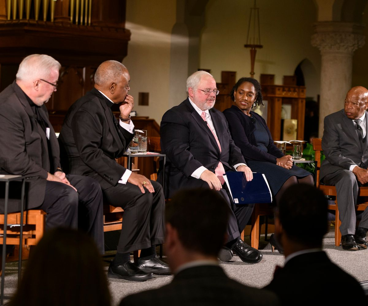 Sojourners President Jim Wallis; Archbishop Wilton Gregory; Initiative on Catholic Social Thought and Public Life  director John Carr; Georgetown professor Marcia Chatelaine; U.S. Rep. John Lewis (D-Georgia)