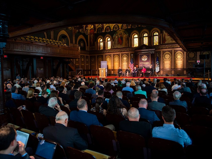 """Audience members at the Public Dialogue """"Overcoming Polarization in a Divided Nation Through Catholic Social Thought"""""""