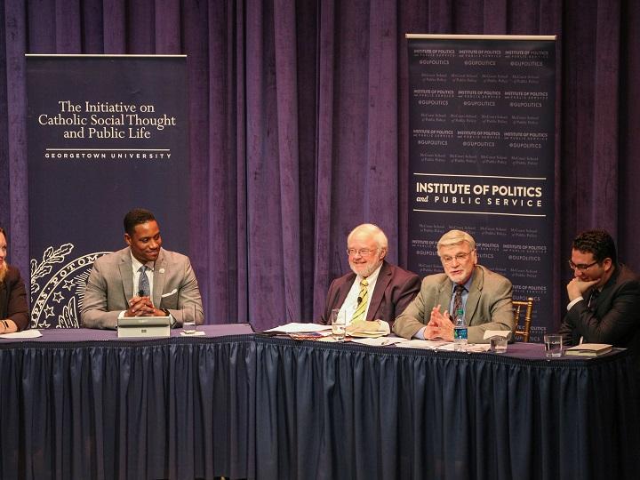 Panelists from left to right: Elizabeth Podrebarac Sciupac, Justin Giboney, moderator John Carr, Cecil Roberts and Michael Wear