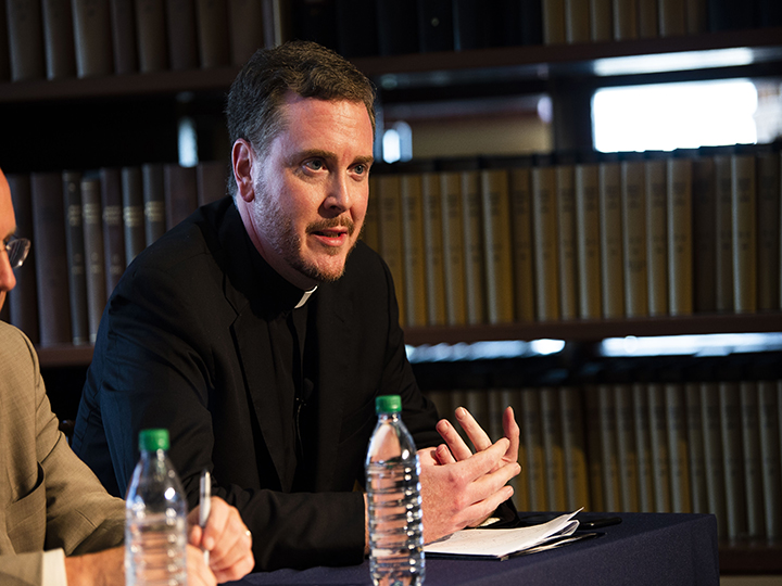 "Matt Malone, S.J., talks during the panel on ""Causes, Costs, and Overcoming Polarization in the Church and Nation."""