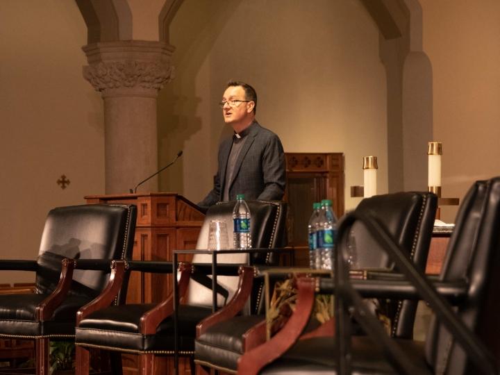 Rev. Mark Bosco, S.J., offers opening remarks for the Dahlgren Dialogue