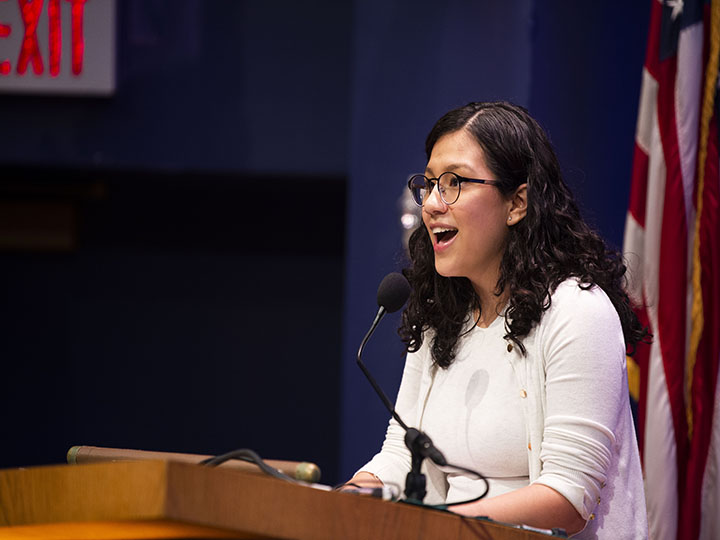Jaquelin Martinez (C'19), a DACA recipient, shares the story of her father to open the dialogue.