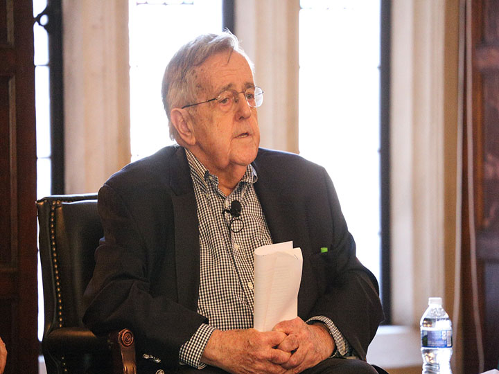 Mark Shields offers his reflections with the Board of Regents.
