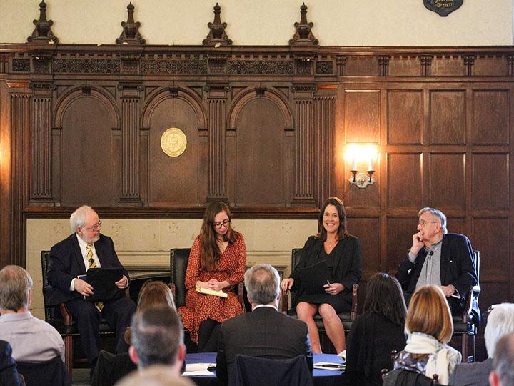 John Carr, Emma Green, Kim Daniels, and Mark Shields speak to the Board of Regents.