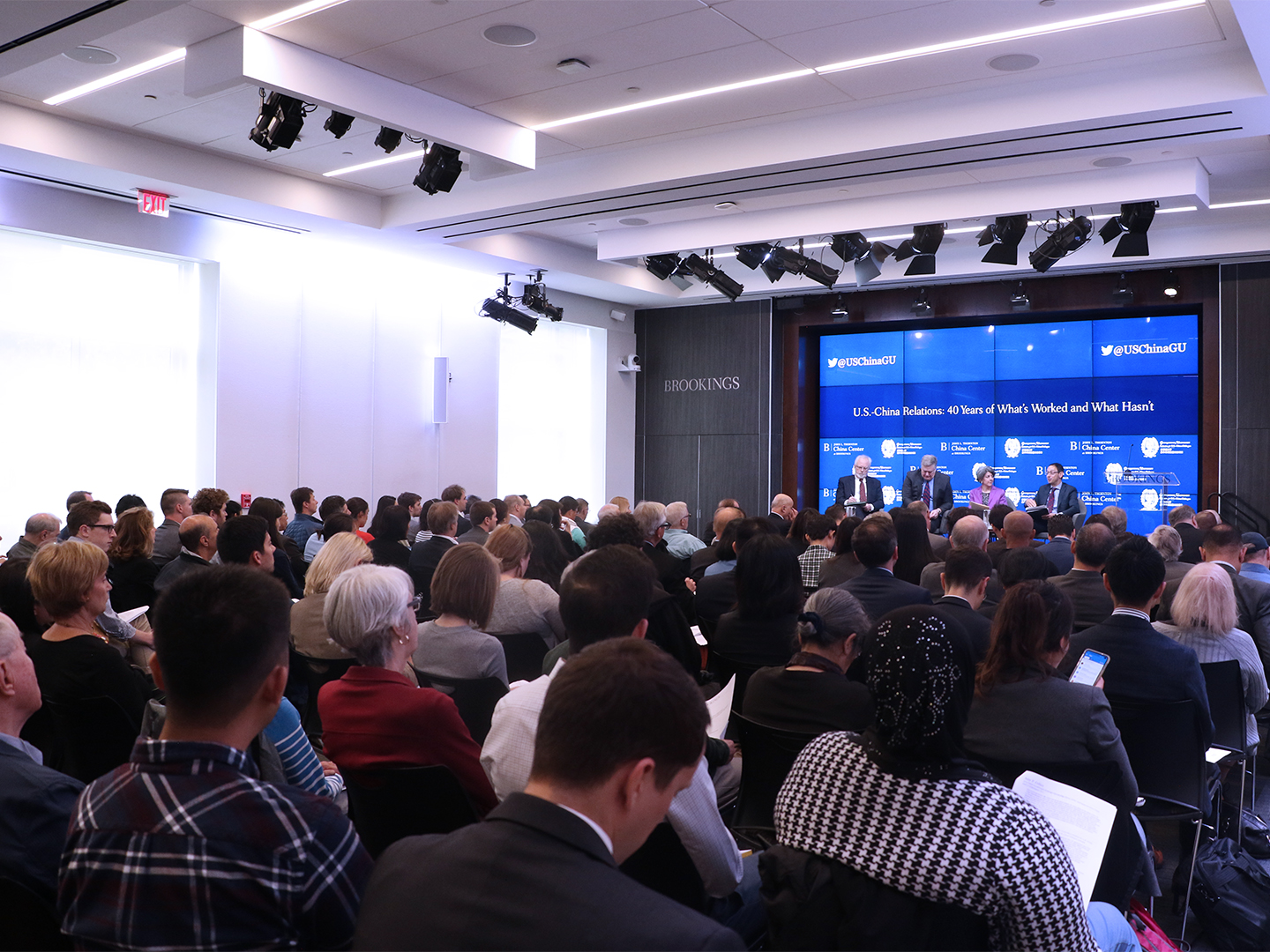 Guests watching the U.S.-China Dialogue Podcast launch event at the Brookings Institution.