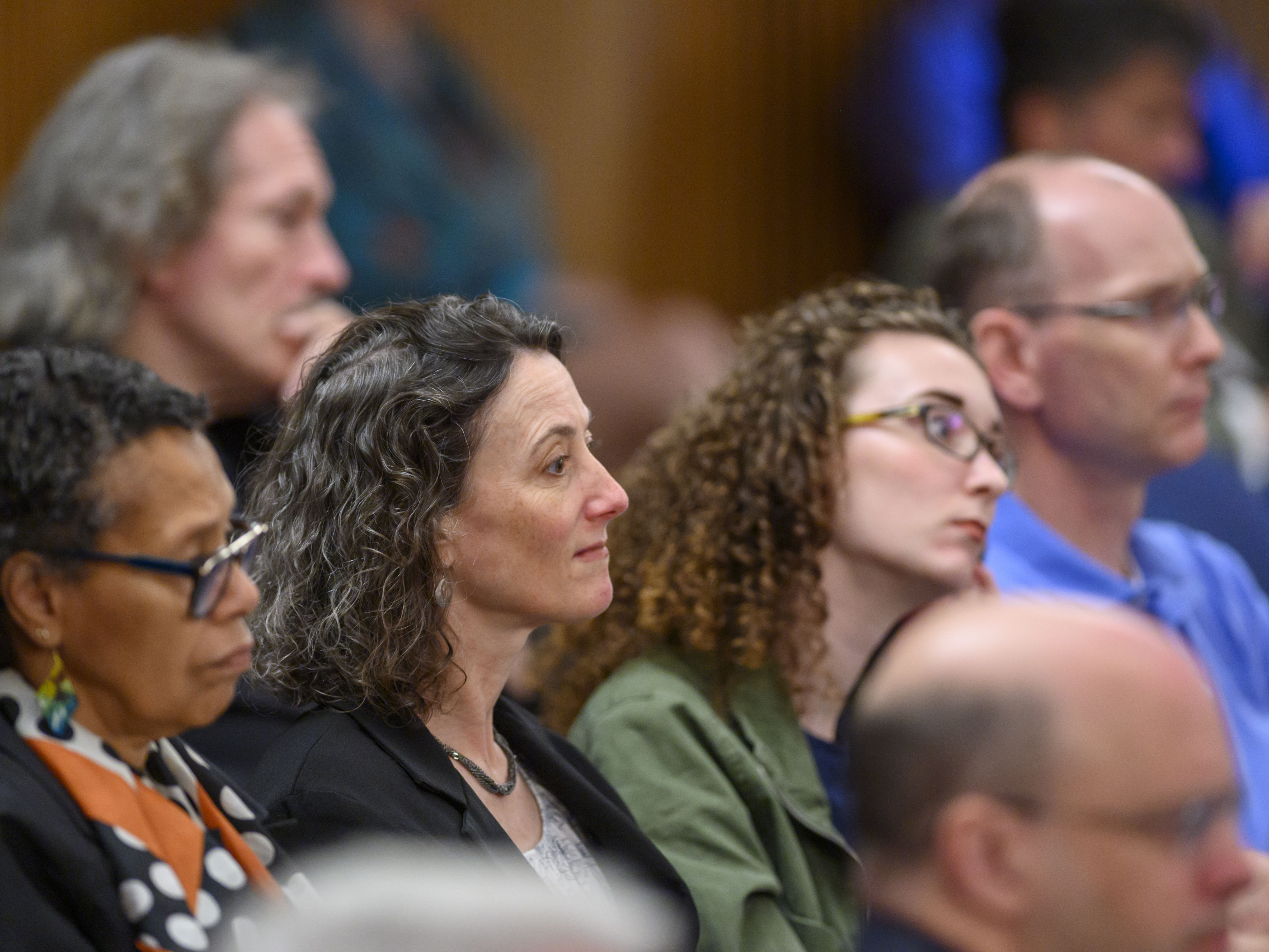 """Audience members listen to panelists discuss """"Faith and the Faithful in the 2020 Campaign."""""""