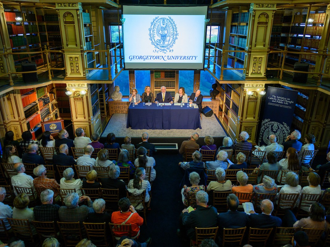 "A full house for the June 14, 2019 Public Dialogue on ""Lay Leadership for a Wounded Church and Divided Nation"" in Riggs Library at Georgetown University."