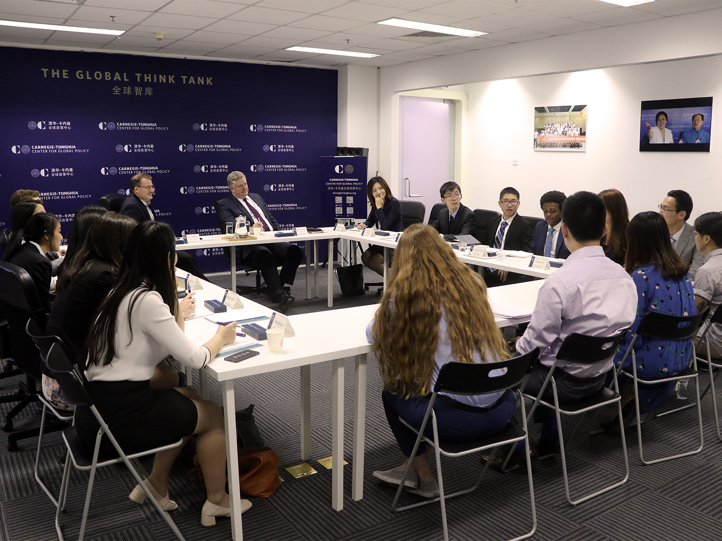 Student Fellows meet with Director Paul Haenle at the Carnegie-Tsinghua Center for Global Policy.