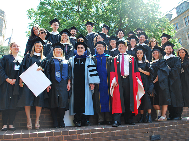 Marc Chernick with CLAS M.A. students at graduation ceremony