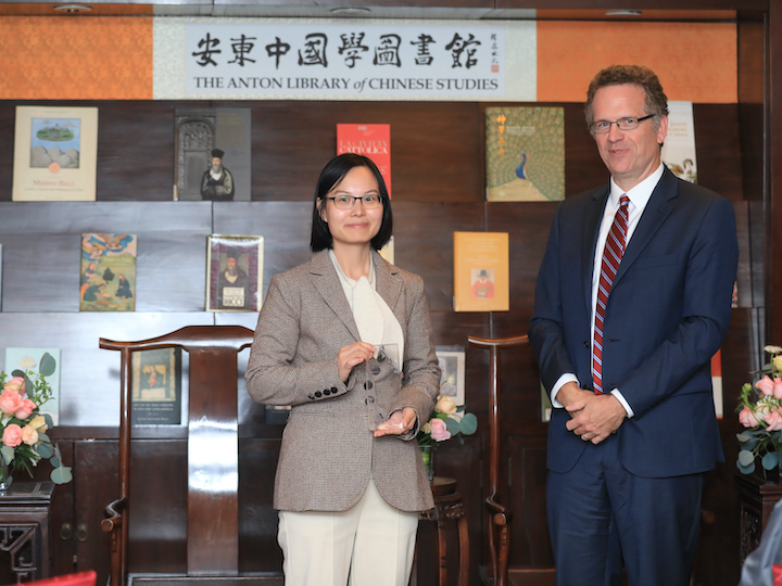 Fangfang Ji from the Chinese Academy of Social Sciences poses with GU Vice President for Global Engagement and event moderator Thomas Banchoff.