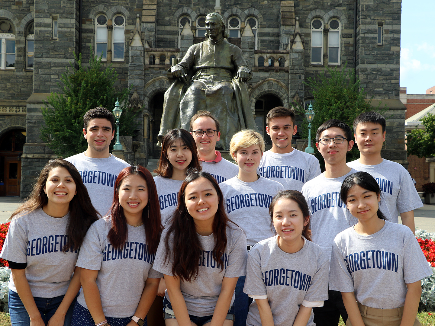 2019-2020 Student Fellows in front of Healy Hall