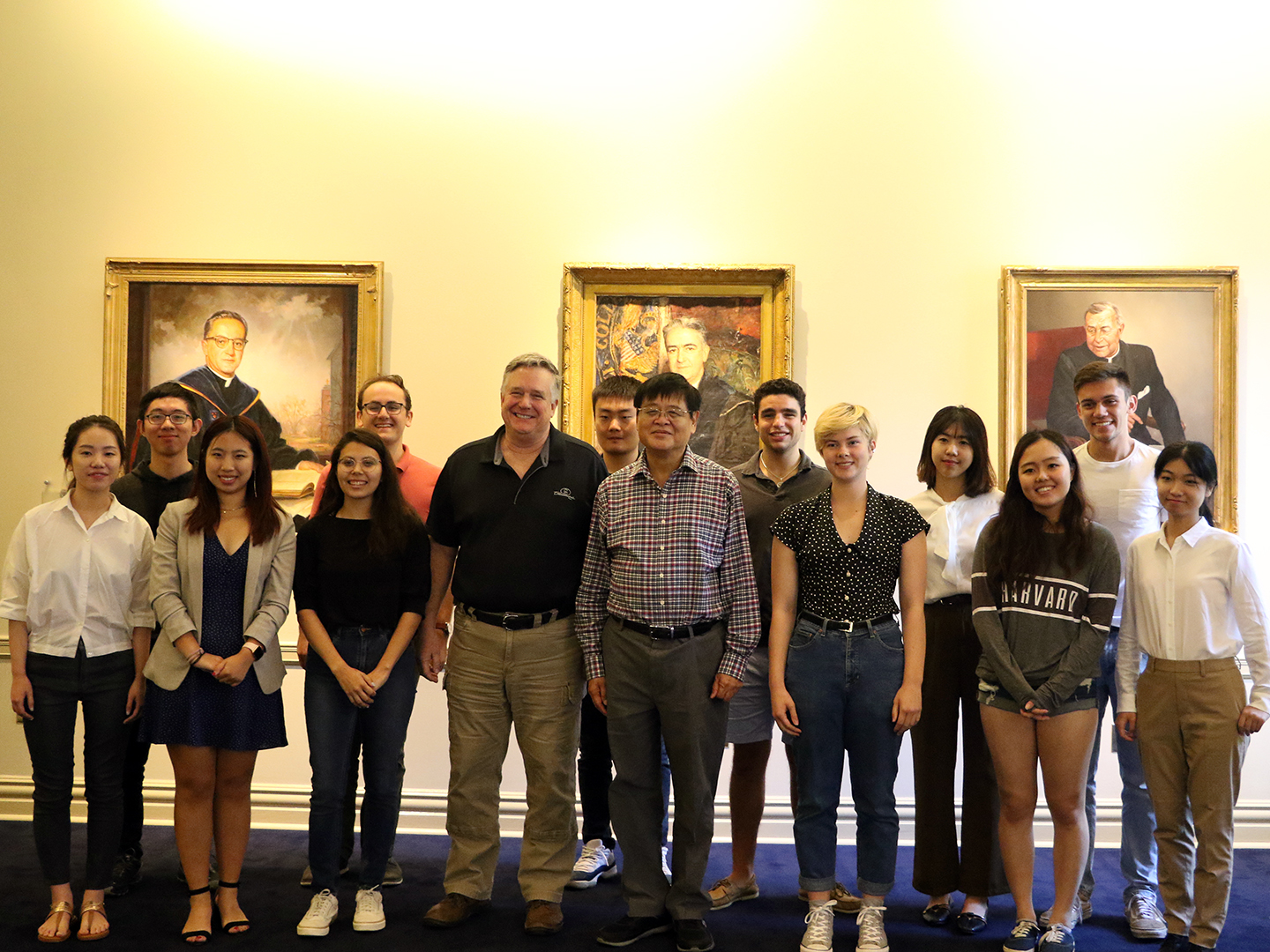 Student Fellows with Wang Jisi in Healy Hall